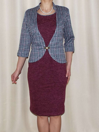 Rochie midi tricotata cu maneca trei sferturi - Valeria Grena0