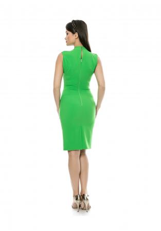Rochie mulata verde cu decolteu in V si pliuri la umeri - R6161
