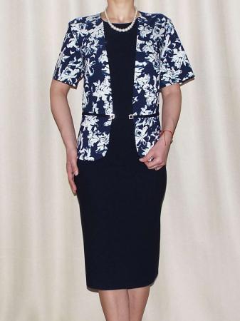 Rochie office eleganta cu imprimeu floral - Olivia Bleumarin [0]