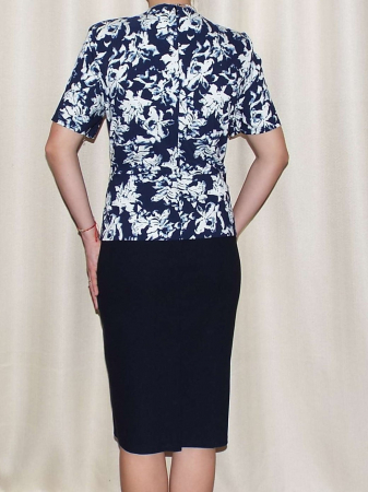 Rochie office eleganta cu imprimeu floral - Olivia Bleumarin [1]