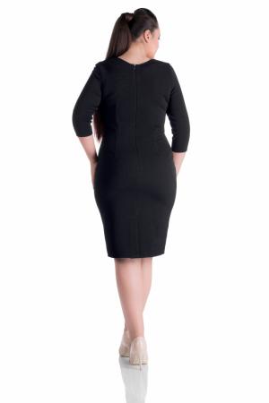 Rochie office rosu - negru cu maneca trei sferturi - Natalia1