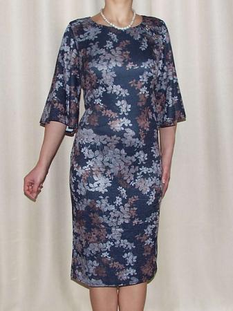 Rochie tricotata cu imprimeu si nasturi decorativi - Carla Floral1