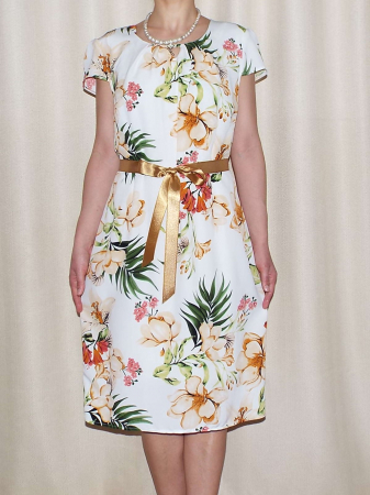 Rochie vaporoasa cu imprimeu floral si cordon - Alina Alb0