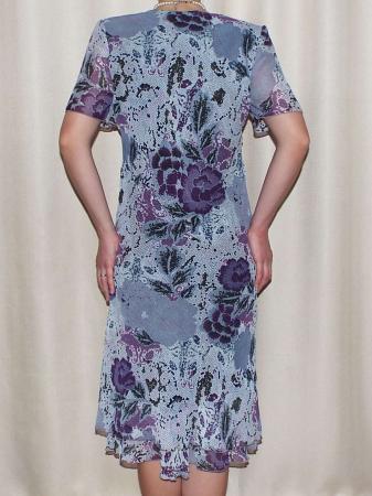 Rochie vaporoasa din voal cu imprimeu floral - Lavinia Gri1