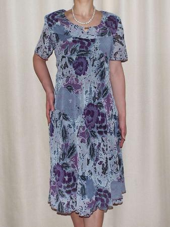 Rochie vaporoasa din voal cu imprimeu floral - Lavinia Gri0