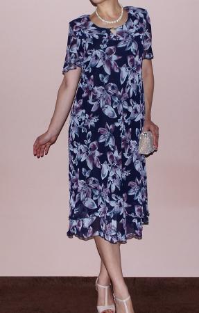 Rochie vaporoasa din voal cu imprimeu si maneca scurta - Otilia Floral [1]