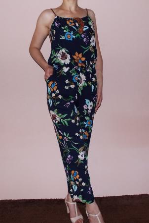 Salopeta de vara cu bretele si imprimeu floral - AMBRA3