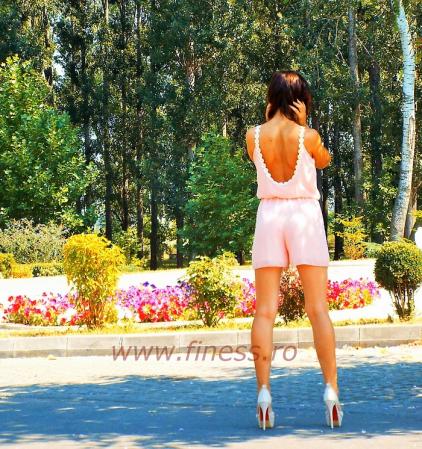 Salopeta scurta de vara cu margarete - Pink Daisy1