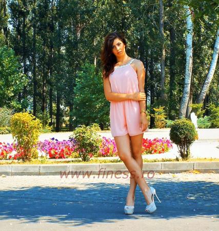 Salopeta scurta de vara cu margarete - Pink Daisy2