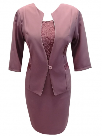 Costum dama elegant din stofa si dantela - Sonia Mov [0]