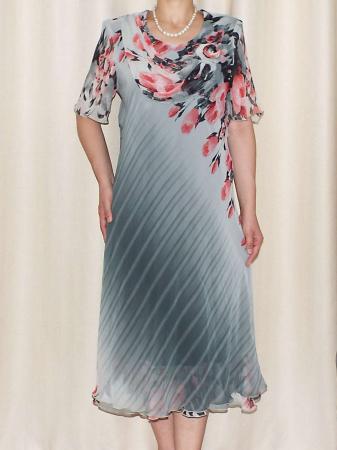 Rochie din voal cu imprimeu si maneca scurta - Victoria 13 [1]