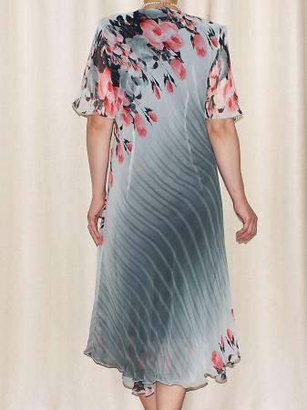 Rochie din voal cu imprimeu si maneca scurta - Victoria 13 [2]