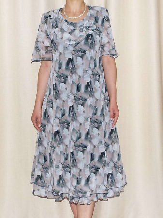 Rochie vaporoasa din voal cu imprimeu floral si brosa - Victoria 14 [1]
