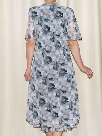 Rochie vaporoasa din voal cu imprimeu floral si brosa - Victoria 14 [2]