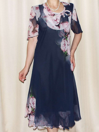 Rochie vaporoasa din voal bleumarin cu imprimeu floral - Victoria 6 [0]