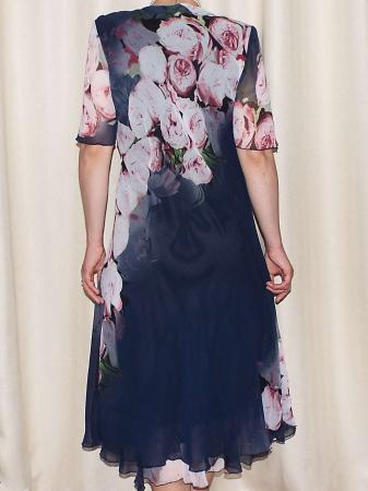 Rochie vaporoasa din voal bleumarin cu imprimeu floral - Victoria 6 [1]