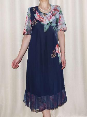 Rochie din voal fin cu imprimeu si maneca scurta - Victoria Bleumarin [1]