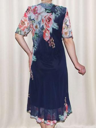 Rochie din voal fin cu imprimeu si maneca scurta - Victoria Bleumarin [3]