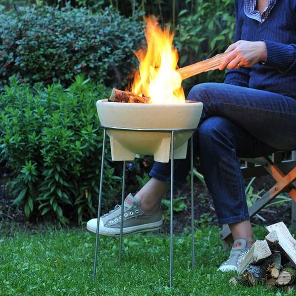 Bol ceramic pentru foc cu stand 0