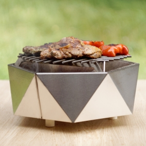 Mini Grill Top Table Inox. D37 cm0
