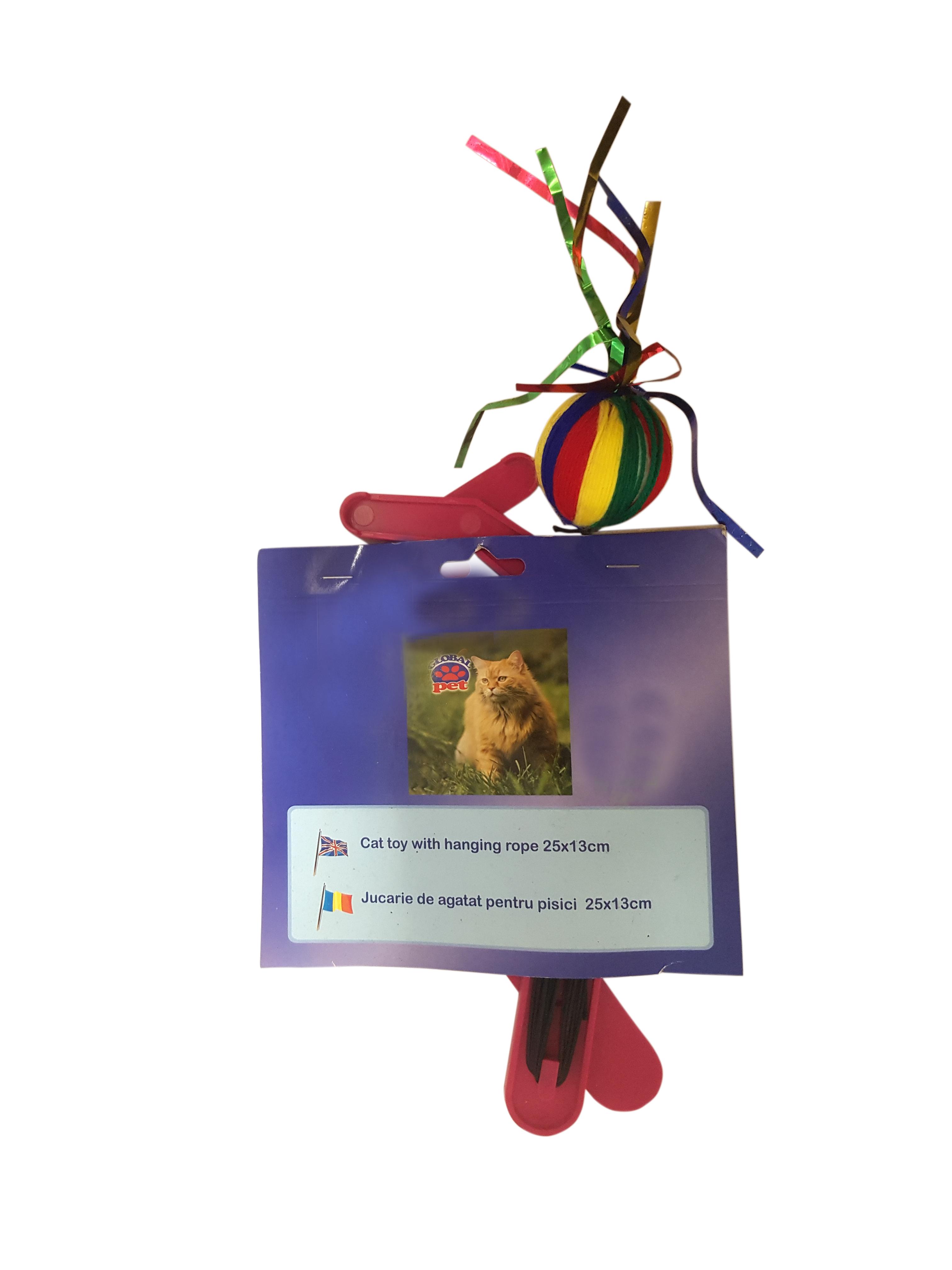Jucarie de agatat pentru pisici multicolora, Global pet, 25 x 13 cm [0]