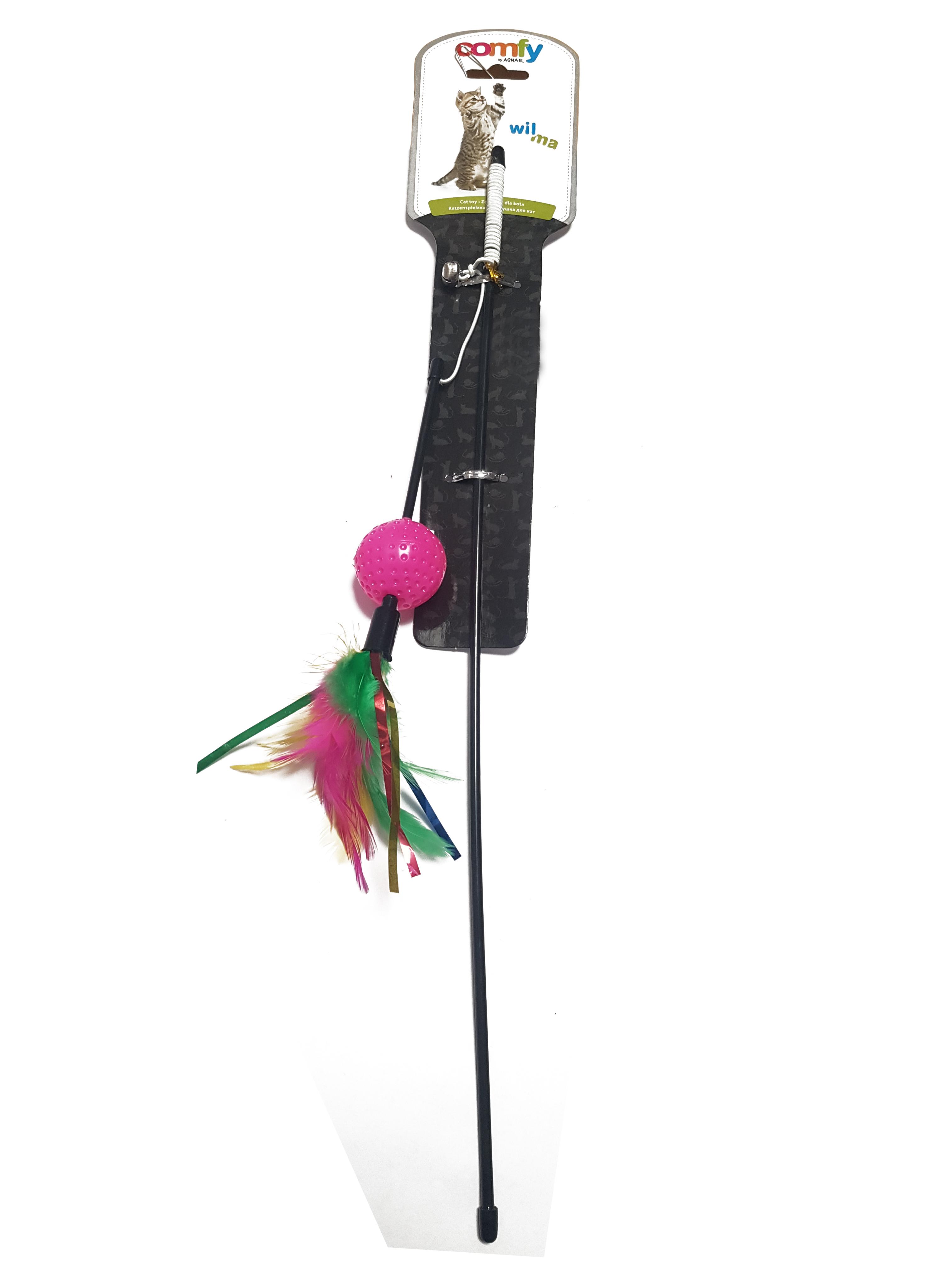 Jucarie pentru pisici Comfy Wilma Rod Ball, roz, Aquael, 65cm 0