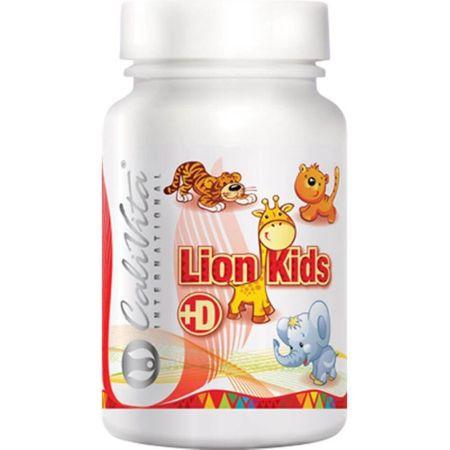 Supliment nutritiv cu vitamina D masticabil pentru copii, cu gust placut si fara zahar, Lion Kids + Vitamin D, 90 tablete masticabile, CaliVita 0