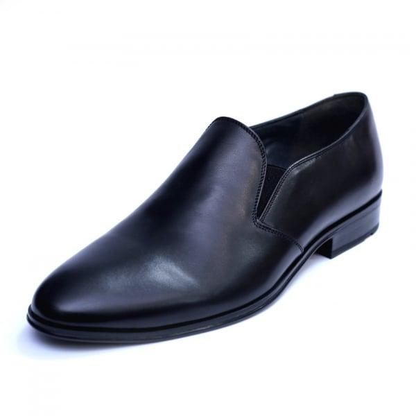 Pantofi barbati din piele naturala cu banda elastica, Elan, RIVA MANCINA, Negru, 40 EU 0