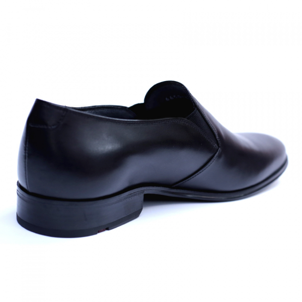 Pantofi barbati din piele naturala cu banda elastica, Elan, RIVA MANCINA, Negru, 40 EU 2