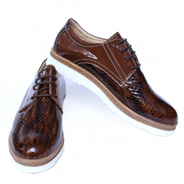 Pantofi dama din piele naturala, Cameleon, Alexin, Maro, 41 EU 2