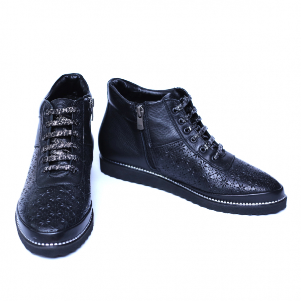 Pantofi dama din piele naturala, Row, Relin, Negru, 40 EU [1]