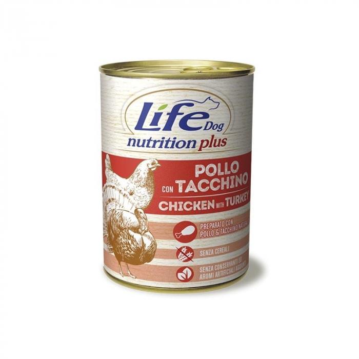 Conserva cu hrana umeda pentru caini cu pui si curcan, Life Dog, 400 g 0