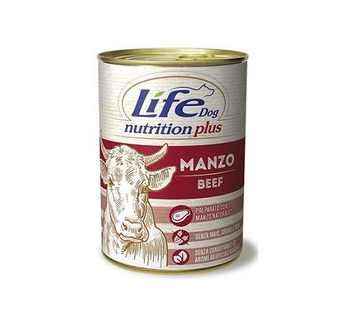 Conserva cu hrana umeda pentru caini cu vita, Life Dog, 400 g [0]