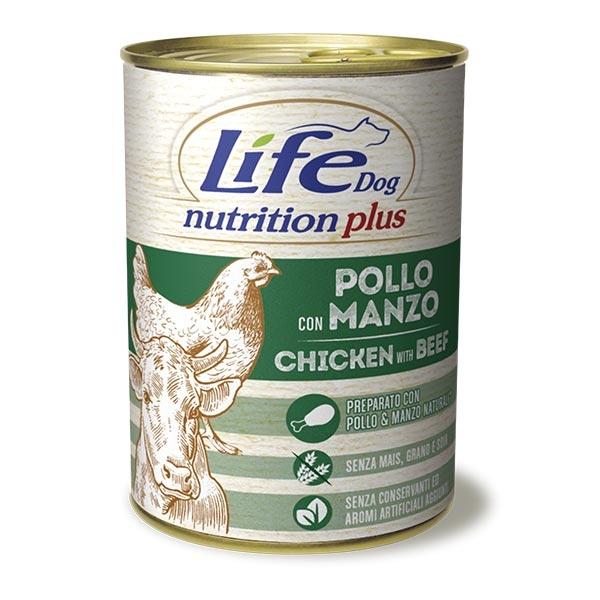 Conserva cu hrana umeda pentru caini cu vita si pui, Life Dog, 400 g [0]
