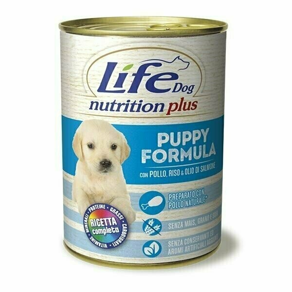 Conserva cu hrana umeda pentru catei cu pui si orez, Life Dog, 400 g 0