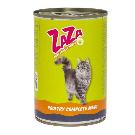 Conserva cu hrana umeda pentru pisici, carne de pasare, ZAZA, 12 buc x 415 g [0]