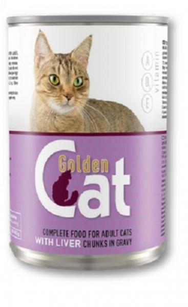 Conserva cu hrana umeda pentru pisici, Golden Cat, Ficat, 12 buc x 415 g 0