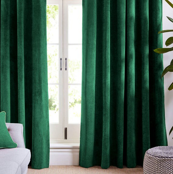 Set draperii din catifea cu rejansa, Premium, 200x210 cm, densitate 700 g/mp, Verde Smarald, 2 buc 1