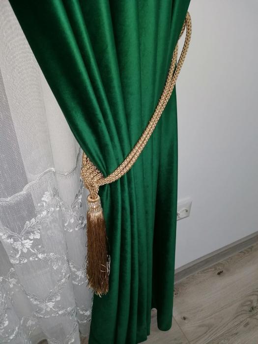 Draperie din catifea cu inele auriu antic, Premium, 200x210 cm, densitate 700 g/mp, Verde Smarald 2