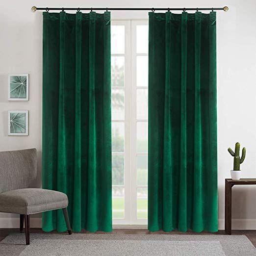 Set draperii din catifea cu rejansa, Premium, 200x210 cm, densitate 700 g/mp, Verde Smarald, 2 buc 0