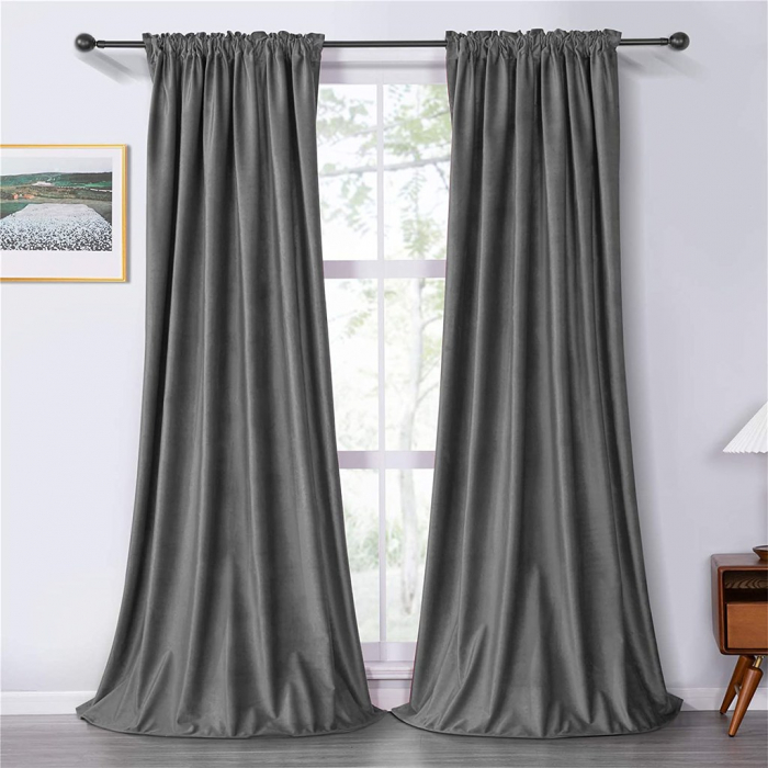 Set draperii soft cu rejansa din bumbac cu 4 ate tip fagure, Super, 200x210 cm, densitate 200 g/mp, Gri, 2 buc [0]