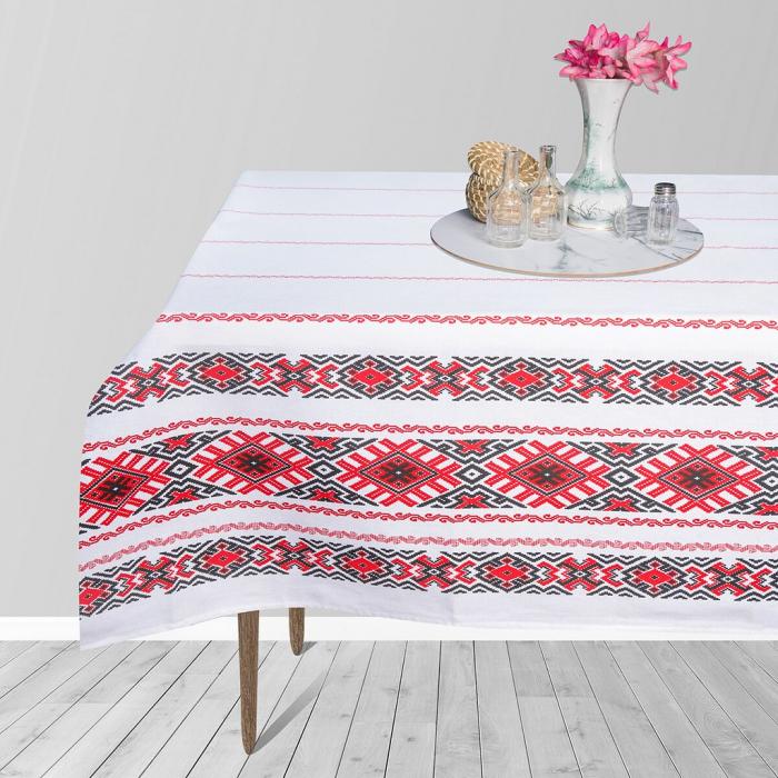 Fata de masa pentru 4 persoane, Maramures, bumbac 100%, 150x150cm, multicolor 1