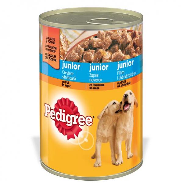 Hrana pentru caini Pedigree Junior, cu Pui in Aspic, Conserva 400 g 0