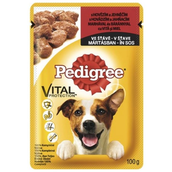 Hrana umeda pentru caini cu vita, Pedigree Cig Pou, 100 g 0