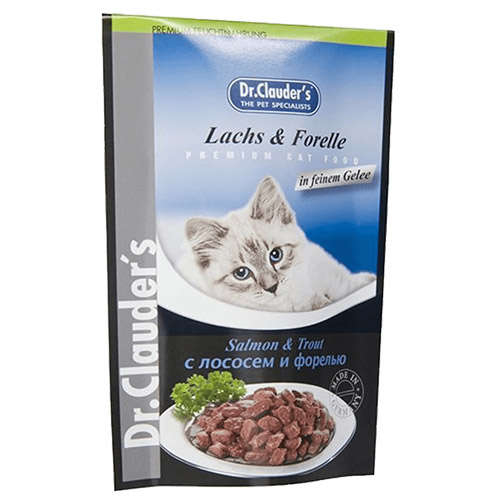 Hrana umeda pentru pisici cu somon si pastrav, Dr. Clauder's Cat, 100 g 0
