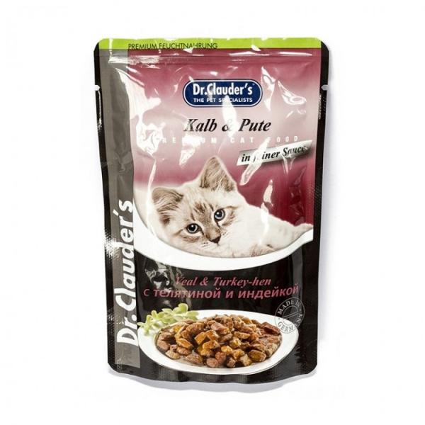 Hrana umeda pentru pisici cu vita si curcan, Dr. Clauder's Premium Cat Food, 100 g 0