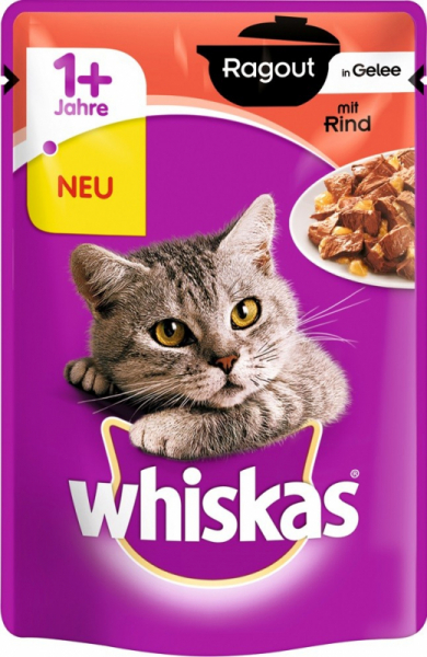 Hrana umeda pentru pisici cu vita, Whiskas, 12 buc x 85g 0