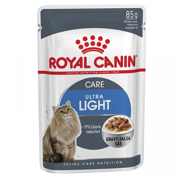 Hrana umeda pentru pisici in sos Royal Canin, Ultra Light, 12 plicuri x 85g 0