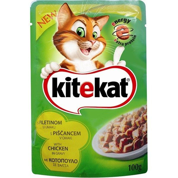 Hrana umeda pentru pisici, Kitekat, cu Pui, 100 g 0