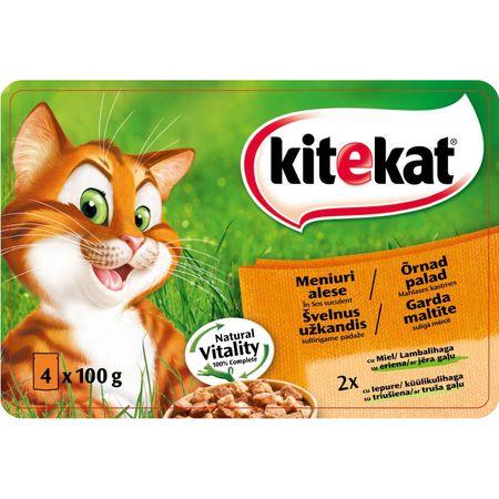 Hrana umeda pentru pisici Meniuri Alese, Kitekat, 4x100g [0]